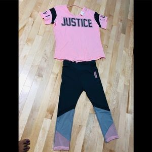 Justice New athletic blouse and Capri active wear
